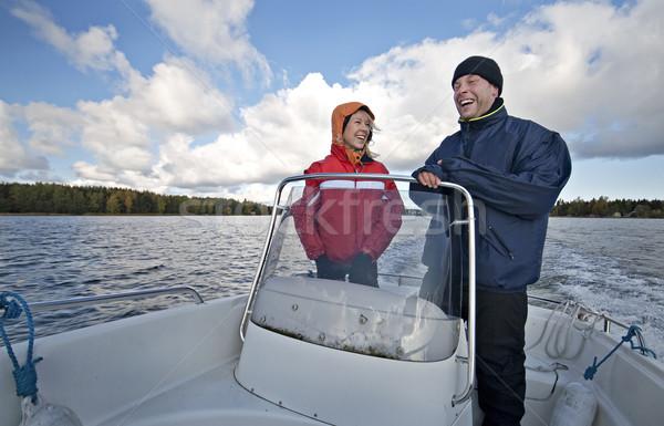 Szczęśliwy para łodzi podróży chmury Zdjęcia stock © Reaktori