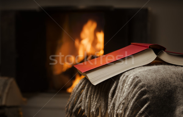 Open book by fireplace. Stock photo © Reaktori