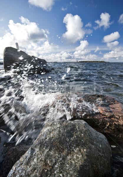 Burzliwy wody fale skał archipelag Zdjęcia stock © Reaktori