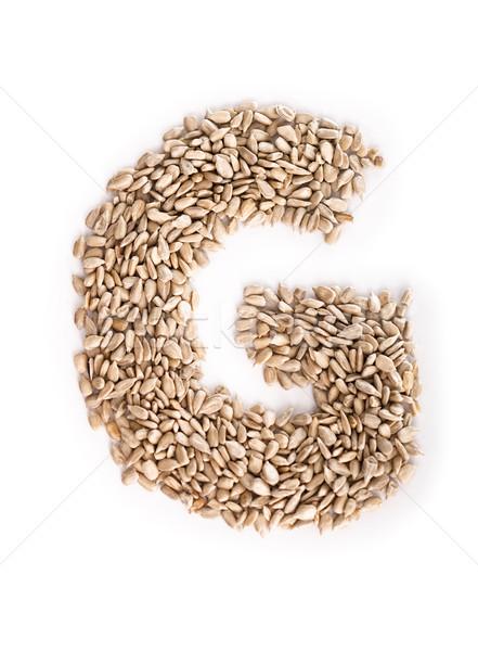 Litera g alfabet słonecznika nasion żywności list Zdjęcia stock © Reaktori