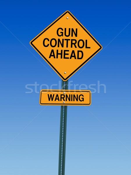 впереди предупреждение дорожный знак Blue Sky Сток-фото © RedDaxLuma