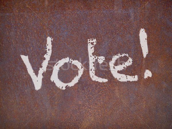 голосования знак ржавые стали пластина цвета Сток-фото © RedDaxLuma