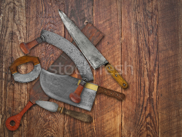 Stock photo: vintage kitchen knives  collage over old wood