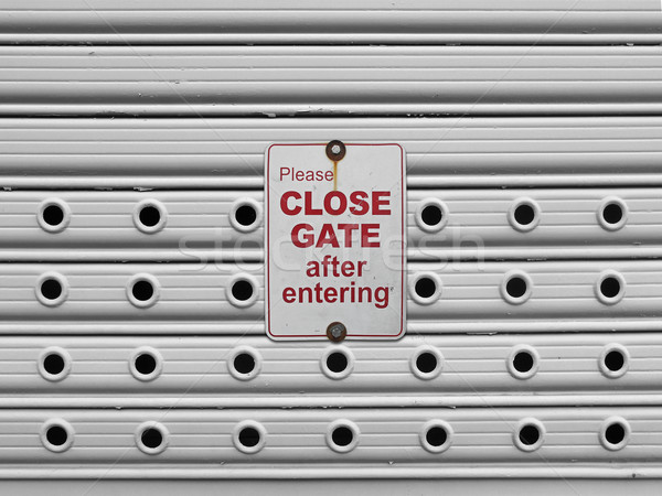 close roll up gate sign Stock photo © RedDaxLuma