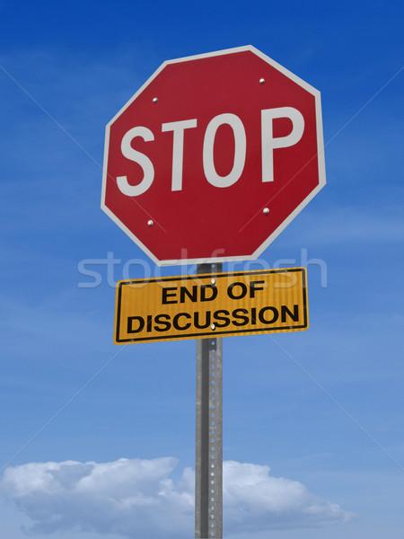 знак остановки конец обсуждение дорожный знак остановки Blue Sky Сток-фото © RedDaxLuma