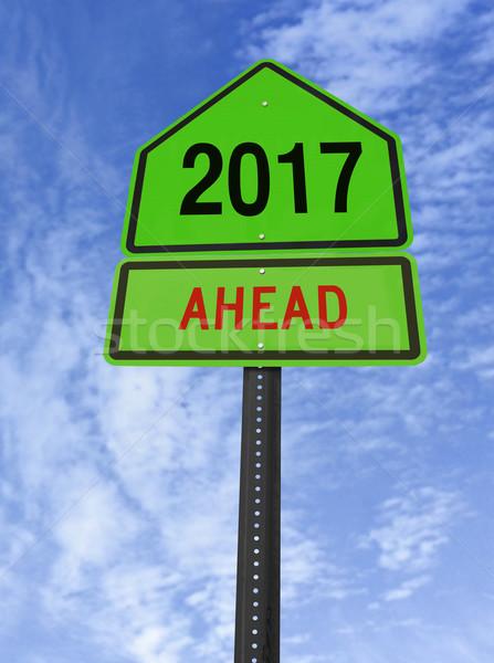 2017 ahead roadsign Stock photo © RedDaxLuma