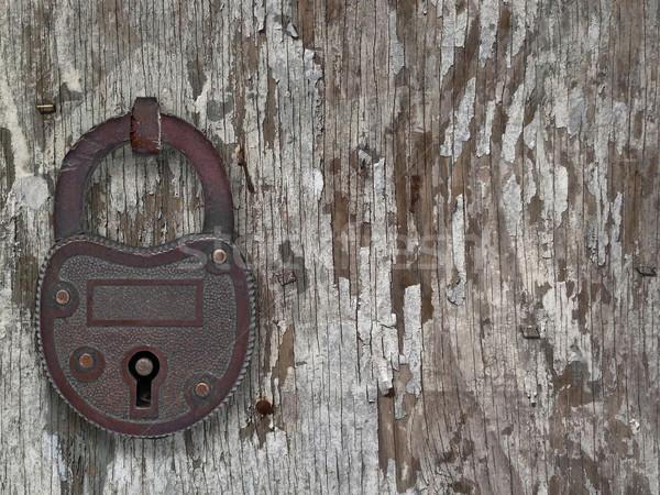 Vintage hangslot oude deur koper verweerde Stockfoto © RedDaxLuma