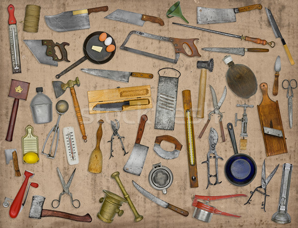 Stock photo: vintage kitchen utensils collage
