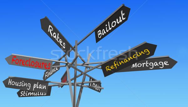 housing crisis signs post Stock photo © RedDaxLuma
