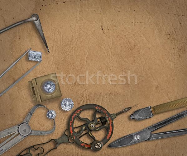 Vintage ювелир инструменты алмазов рабочих скамейке Сток-фото © RedDaxLuma