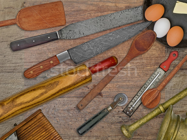Stock photo: vintage bakery shop utensils over wooden table