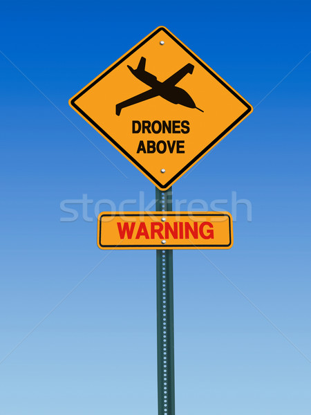 Uyarı üzerinde imzalamak simge tehlike mavi gökyüzü Stok fotoğraf © RedDaxLuma
