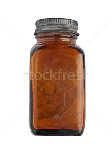 Bağbozumu baharat şişe kahverengi cam beyaz Stok fotoğraf © RedDaxLuma