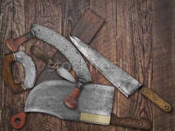 vintage kitchen knives  collage over old wood Stock photo © RedDaxLuma
