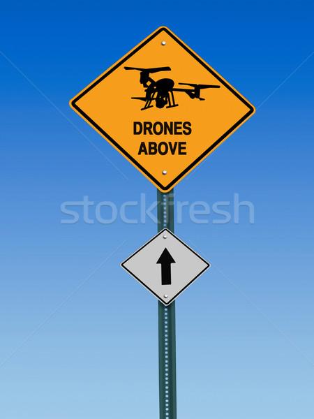 Fölött felirat szimbólum figyelmeztetés kék ég biztonság Stock fotó © RedDaxLuma