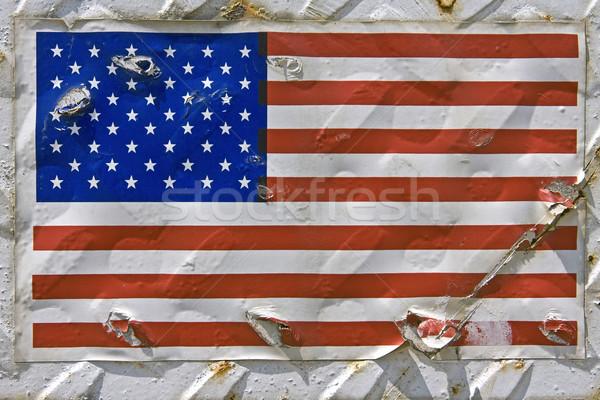 Amerikan bayrağı etiket Metal konteyner imzalamak mavi Stok fotoğraf © RedDaxLuma