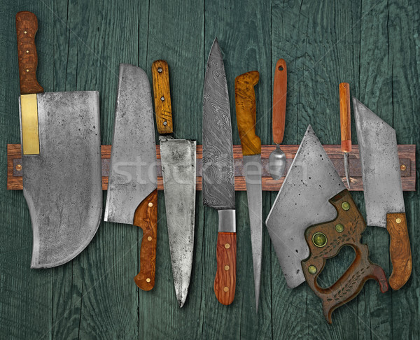Stock photo: vintage knives on the rack