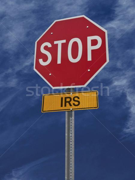 Stop adóhatóság posta felirat jelzőtábla égbolt Stock fotó © RedDaxLuma