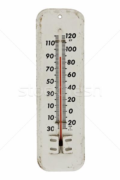 Klasszikus hőmérő fehér fogzománc szabadtér izolált Stock fotó © RedDaxLuma