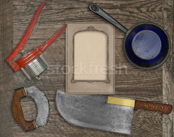 Stock photo: vintage kitchen knife and utensils collage