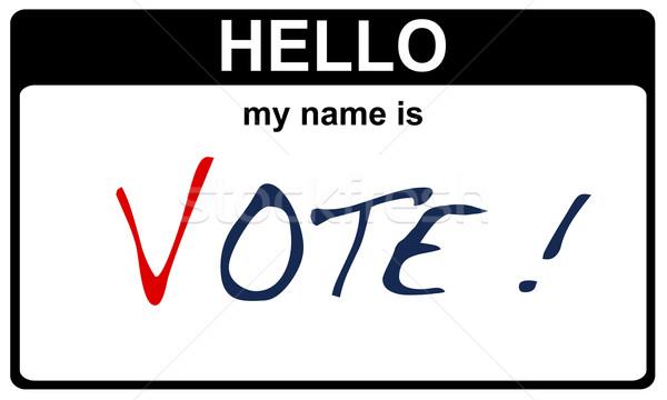 Hello enyém név szavazás fekete matrica Stock fotó © RedDaxLuma