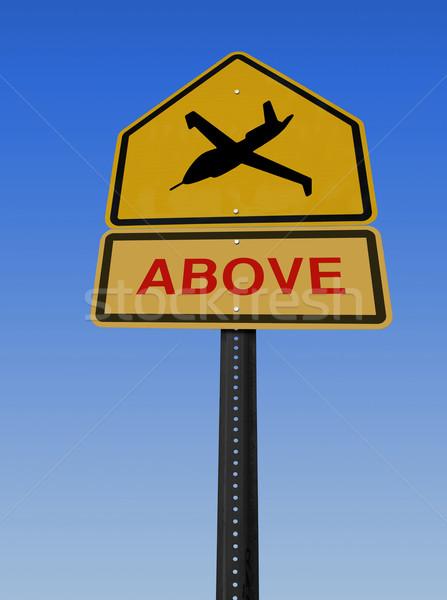 warning drone above sign Stock photo © RedDaxLuma
