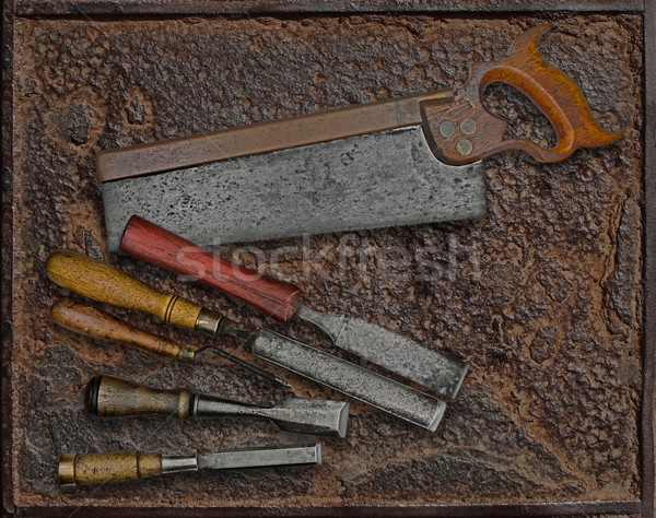 vintage woodworking tools over plate Stock photo © RedDaxLuma