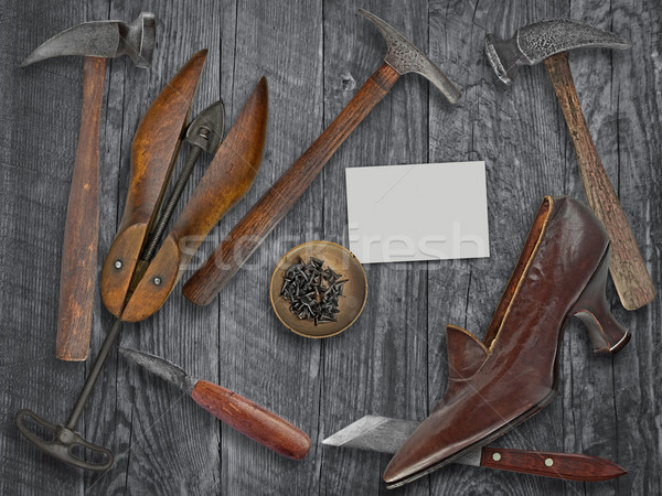 Vintage дамы обуви инструменты деревянный стол пространстве Сток-фото © RedDaxLuma