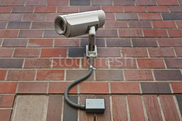 Biztonsági kamera cctv biztonság videókamera kívül fal Stock fotó © RedDaxLuma