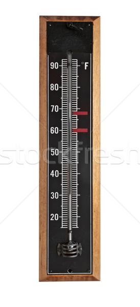 Bağbozumu termometre duvar siyah emaye ahşap Stok fotoğraf © RedDaxLuma