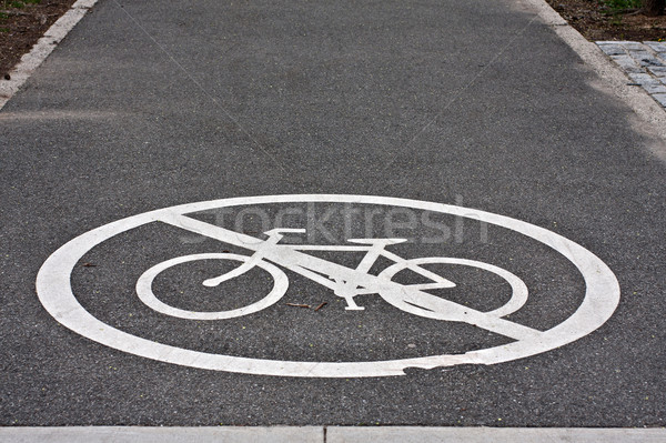 Bisiklet hat beyaz boyalı imzalamak Stok fotoğraf © RedDaxLuma