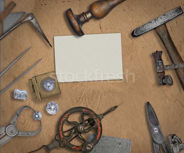 Bağbozumu kuyumcu araçları elmas çalışma bank Stok fotoğraf © RedDaxLuma