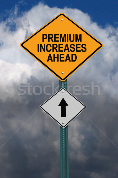 премия впереди дорожный знак дорожный знак темно Blue Sky Сток-фото © RedDaxLuma