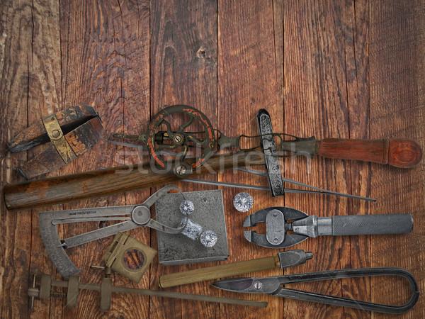 Vintage ювелир инструменты алмазов рабочих Сток-фото © RedDaxLuma