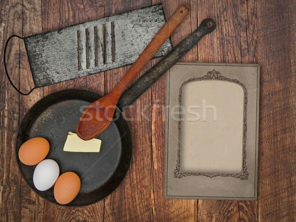 vintage utensils set and skillet Stock photo © RedDaxLuma