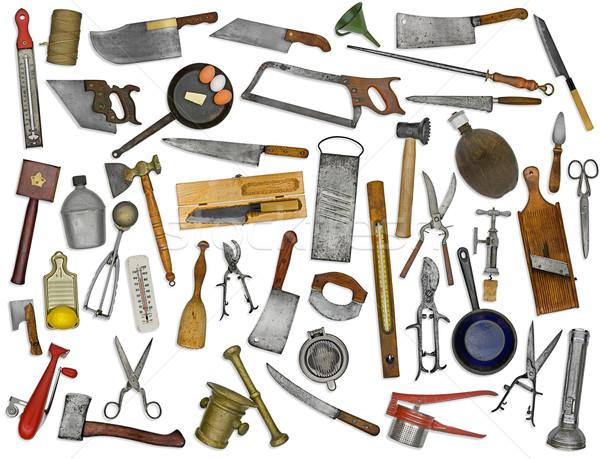 Stock photo: vintage kitchen utensils collage over white
