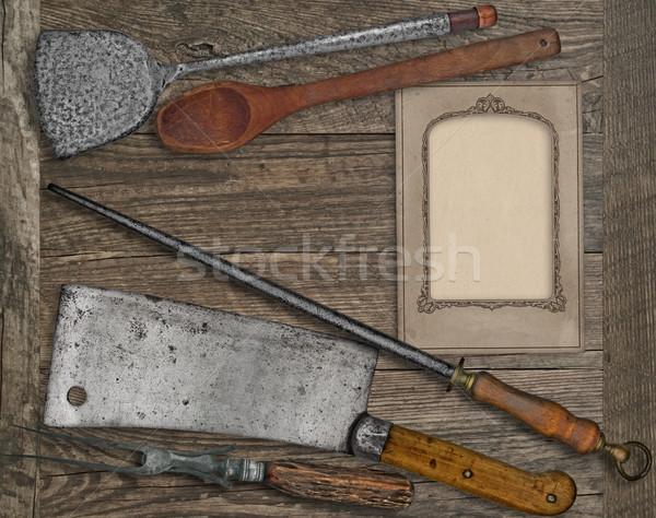 vintage menu card and utensils Stock photo © RedDaxLuma