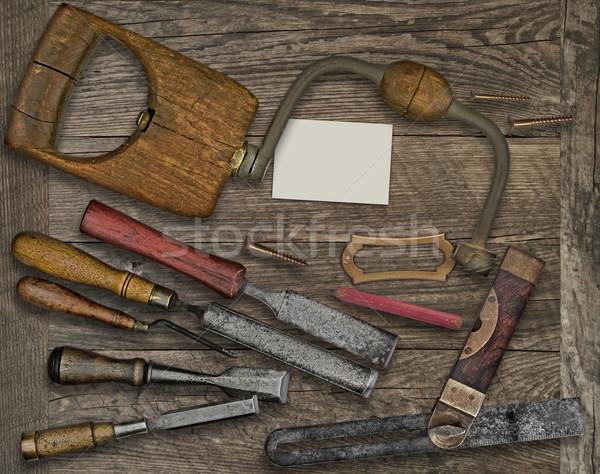 инструменты визитной карточкой скамейке Vintage пластина Сток-фото © RedDaxLuma