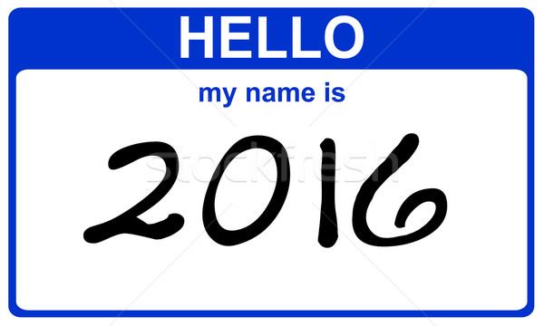 Stock photo: hello my name is 2016