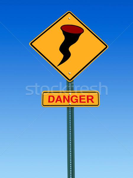 Hurrikán veszély figyelmeztető jel jelzőtábla ikon figyelmeztetés Stock fotó © RedDaxLuma