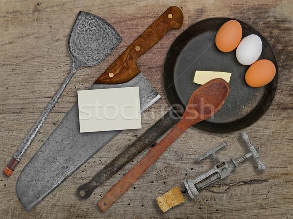 Bağbozumu ayarlamak yumurta ahşap masa uzay kartvizit Stok fotoğraf © RedDaxLuma
