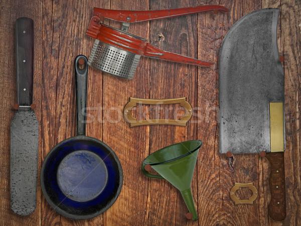 Stock photo: vintage kitchen utensils over wooden wall