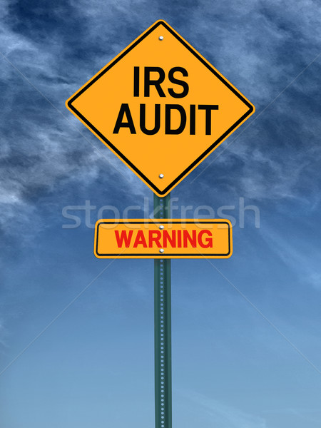 Stock photo: warning irs audit post sign