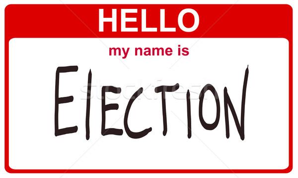 Merhaba benim ad seçim kırmızı etiket Stok fotoğraf © RedDaxLuma