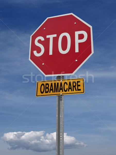 stop obamacare ahead conceptual post Stock photo © RedDaxLuma