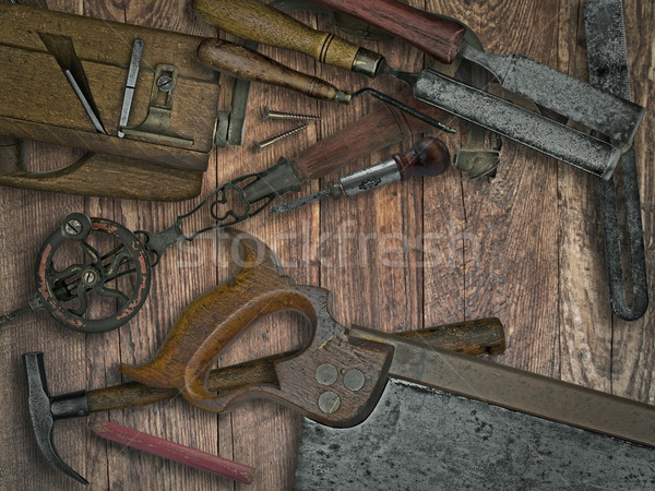 vintage woodworking tools on wooden bench Stock photo © RedDaxLuma