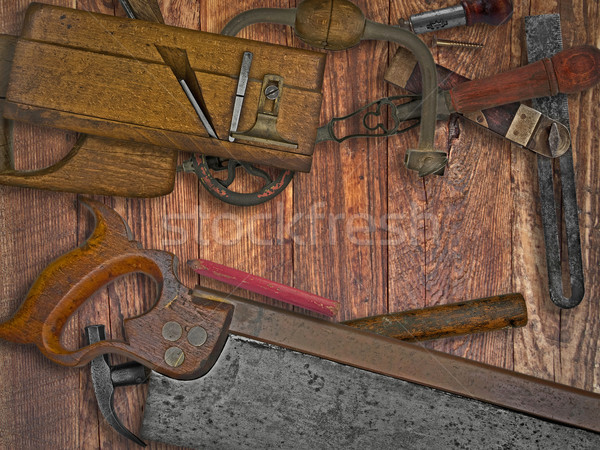 Stock photo: vintage woodworking tools on wooden bench