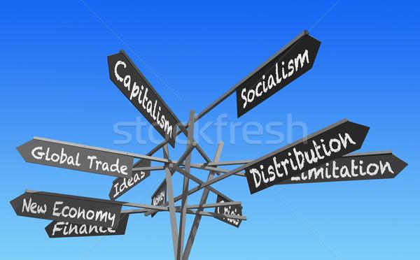Dünya ekonomi işaretleri gönderemezsiniz kelime mavi gökyüzü Stok fotoğraf © RedDaxLuma