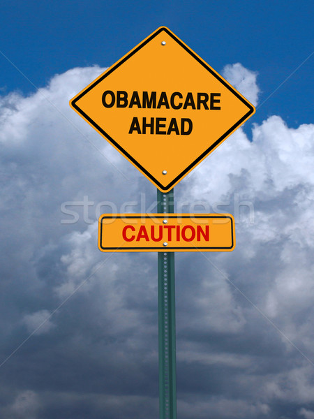 obamacare ahead caution conceptual post Stock photo © RedDaxLuma
