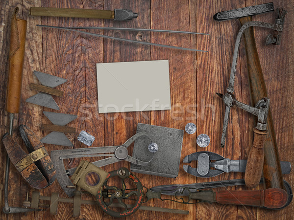 vintage jeweler tools,diamonds,business card over wooden wall Stock photo © RedDaxLuma